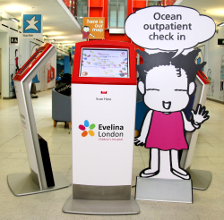A self check in kiosk at Evelina London