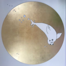 A piece of artwork from the Seal clinical research facility. A seal swimming in a gold bubble.